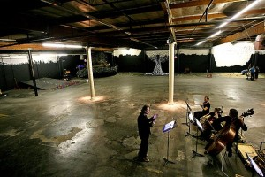 David O conducting a quartet on a soundstage