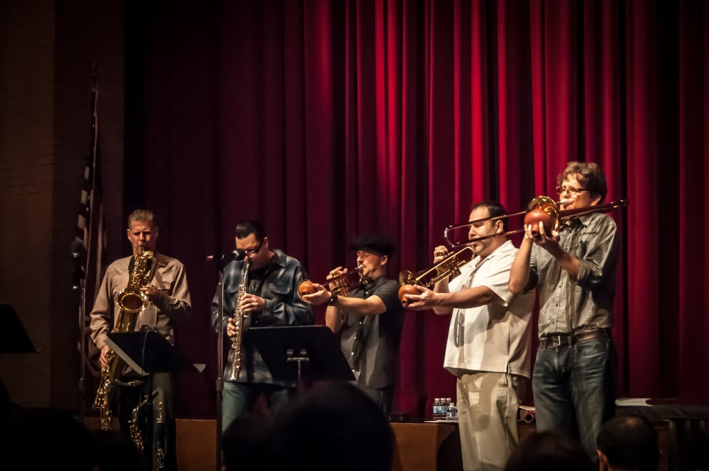 Big Bad Voodoo Daddy Horn Section at a Yamaha Horn Clinic for Jr High and High School Kids | Photo by Steve O'Bryan