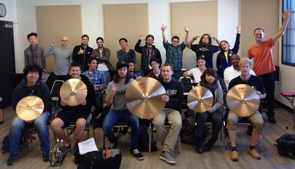 Dave Beyer with his Rock Drums class at LACM