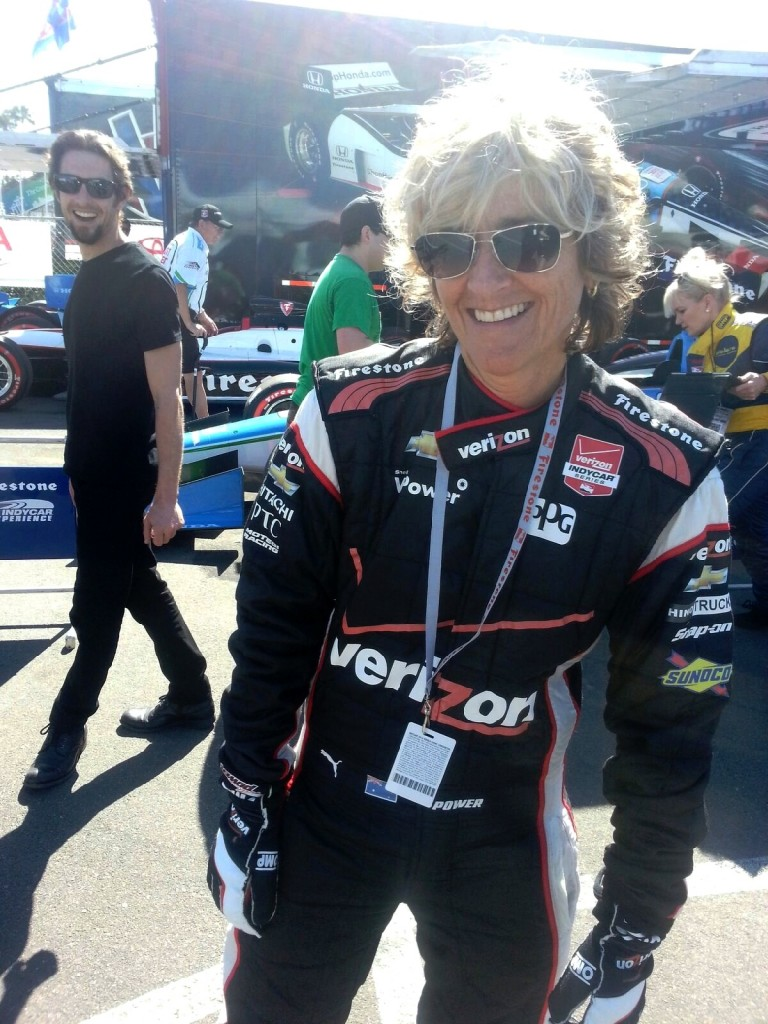 NancyBennett_in_FireSuit_Aaron_Thomen_Laughing_IndyCar