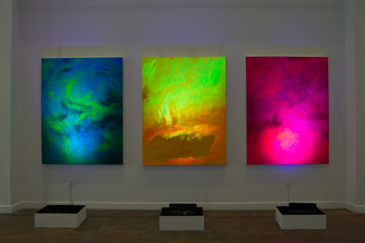 10. Spectralscape triptych, 2015, Oil, acrylic, and ultraviolet pigment on canvas, 48x62 inches each