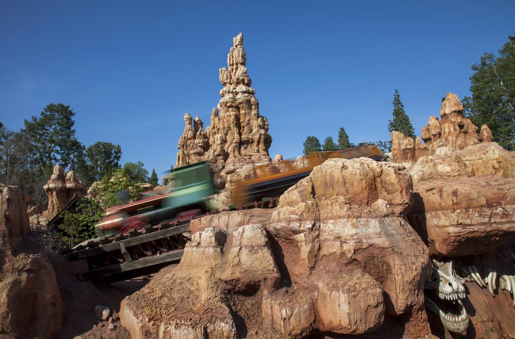 BIG THUNDER RETURNS -- Big Thunder Mountain Railroad reopens to guests at Disneyland park on March 17, 2014, with some new surprises and all the favorite dips and turns of this classic attraction. The 'wildest ride in the wilderness' has been fully refurbished with an upgraded track, new paint on portions of the mountain, a restoration of the historic Rainbow Ridge Mining Town, enhanced audio and updates to the ride vehicles. (Paul Hiffmeyer/Disneyland)